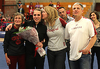 STANFORD, CA--March 1, 2013--Stanford's senior Nicole Dayton is honored with her parents and grandmother after Friday's, March 1, 2013, Gymnastics competition against Cal and Oregon State University on the Stanford University Campus. Stanford won the competition.