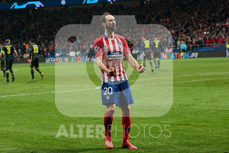 Atletico de Madrid's Juanfran Torres celebrates goal during UEFA Champions League match, Round of 16, 1st leg between Atletico de Madrid and Juventus at Wanda Metropolitano Stadium in Madrid, Spain. February 20, 2019. (ALTERPHOTOS/A. Perez Meca)