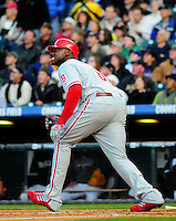 April 11, 2009: Phillies first baseman and 2009 National League Most Valuable Player candidate Ryan Howard watches the flight of an RBI double during a game between the Philadelphia Phillies and the Colorado Rockies at Coors Field in Denver, Colorado. The Phillies beat the Rockies 8-4.