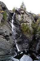 Le cascate di Lillaz, frazione di Cogne, nel Parco Nazionale del Gran Paradiso in Val d'Aosta.<br /> Waterfall of Lillaz, frazione of Cogne, in the Gran Paradiso National Park, Aosta Valley.<br /> UPDATE IMAGES PRESS/Riccardo De Luca