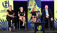 4th February 2020, Eden Park, Auckland, New Zealand;  L-R: Cate Sexton (Head of Women's Rugby NZ), Kendra Cocksedge (Black Fern), Dame Julie Christie (RWC2021 Organising Committee Chair) and Sir Bill Beaumont (World Rugby Chairman).<br /> RWC 2021 New Zealand Kick-Off event at Eden Park, Auckland, New Zealand on Tuesday 4th February 2020.