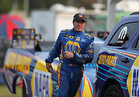 Aug 18, 2018; Brainerd, MN, USA; NHRA funny car driver Ron Capps during qualifying for the Lucas Oil Nationals at Brainerd International Raceway. Mandatory Credit: Mark J. Rebilas-USA TODAY Sports