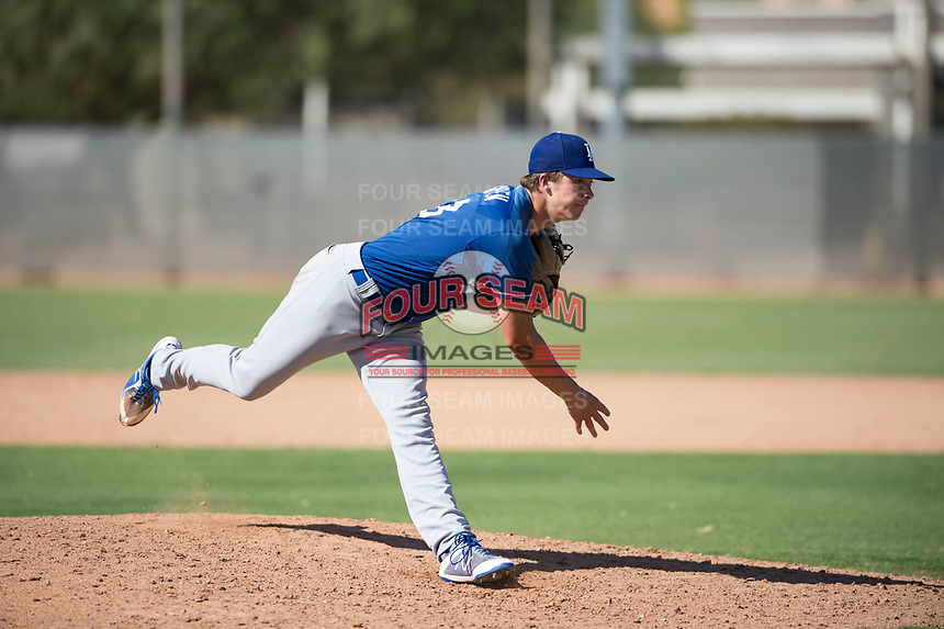 Los Angeles Dodgers relief pitcher Caleb Sampen (83) follows through on his delivery during an Instructional League game against the Milwaukee Brewers at Maryvale Baseball Park on September 24, 2018 in Phoenix, Arizona. (Zachary Lucy/Four Seam Images)