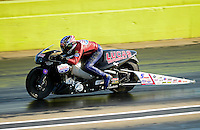 Sept. 21, 2012; Ennis, TX, USA: NHRA pro stock motorcycle rider Hector Arana Sr during qualifying for the Fall Nationals at the Texas Motorplex. Mandatory Credit: Mark J. Rebilas-US PRESSWIRE