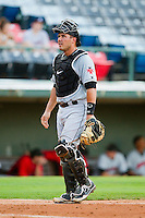 Indianapolis Indians catcher Tony Sanchez (26) on defense against the Charlotte Knights at Knights Stadium on July 22, 2012 in Fort Mill, South Carolina.  The Indians defeated the Knights 17-1.  (Brian Westerholt/Four Seam Images)