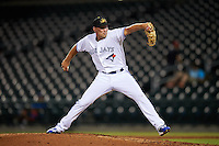 Mesa Solar Sox pitcher Justin Shafer (16), of the Toronto Blue Jays organization, during a game against the Peoria Javelinas on October 15, 2016 at Sloan Park in Mesa, Arizona.  Peoria defeated Mesa 12-2.  (Mike Janes/Four Seam Images)