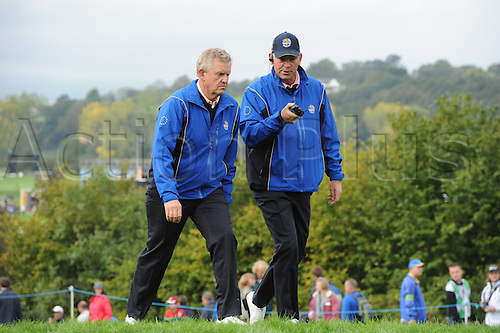 30.09.2010 European Ryder Cup captain Colin Montgomerie (SCO) and Thomas Bjorn (DEN) vice captain of  Europe  in action during practice at the Ryder Cup 2010 course, Celtic Manor resort, Newport, Wales on the third practice day of the Ryder Cup 2010 between Europe and the USA