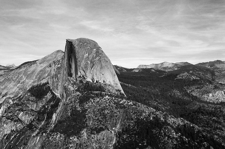 Half Dome from Glacier Point, Yosemite NP, Ca. Image made on 35mm Ilford Delta 100 Film
