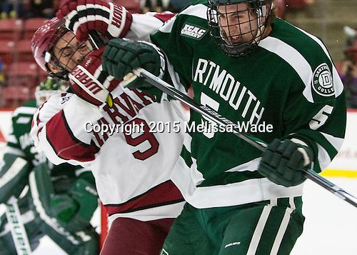 Luke Esposito (Harvard - 9), Tim Shoup (Dartmouth - 5) - The Harvard University Crimson defeated the Dartmouth College Big Green 5-2 to sweep their weekend series on Sunday, November 1, 2015, at Bright-Landry Hockey Center in Boston, Massachusetts. -