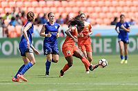 Houston, TX - Saturday May 27, 2017: Nichelle Prince passes the ball during a regular season National Women's Soccer League (NWSL) match between the Houston Dash and the Seattle Reign FC at BBVA Compass Stadium.