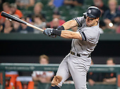 New York Yankees center fielder Mike Tauchman (39) bats in the ninth inning against the Baltimore Orioles at Oriole Park at Camden Yards in Baltimore, MD on Wednesday, August 7, 2019.  The Yankees won the game 14 - 2.<br /> Credit: Ron Sachs / CNP<br /> (RESTRICTION: NO New York or New Jersey Newspapers or newspapers within a 75 mile radius of New York City)
