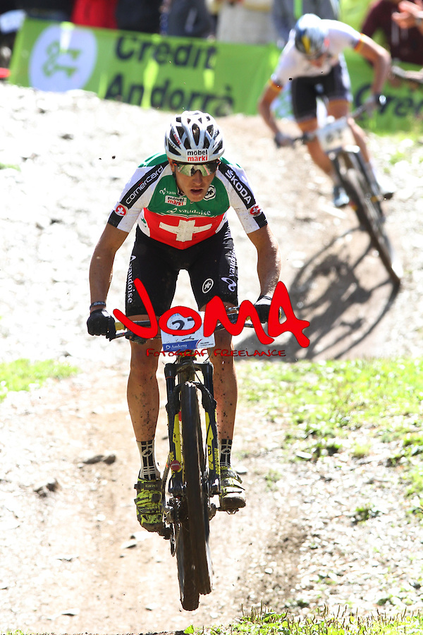 05.09.2015 La Massana Andorra. 201 UCI Mountain Bike World Champions.Picture show Stirnemann Matthias (SUI) in action during Men ELite Cross-country Olympic World Champions