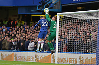 David Martin of West Ham United is under pressure from Christian Pulisic Of Chelsea FC during Chelsea vs West Ham United, Premier League Football at Stamford Bridge on 30th November 2019