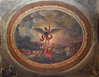 DELACROIX, Eugene, 1798-1863, Saint Michel terrassant le Dragon (St Michael slaying the dragon), ceiling fresco, 1855-61, in Eglise Saint-Sulpice (St Sulpitius' Church), c.1646-1745, late Baroque church on the Left Bank, Paris, France. Picture by Manuel Cohen