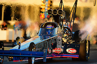 May 4, 2012; Commerce, GA, USA: NHRA top fuel dragster driver Pat Dakin during qualifying for the Southern Nationals at Atlanta Dragway. Mandatory Credit: Mark J. Rebilas-