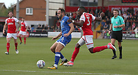 Oldham Athletic's Dan Gardner shields the ball from Fleetwood Town's Amari'i Bell<br /> <br /> Photographer Stephen White/CameraSport<br /> <br /> The EFL Sky Bet League One - Fleetwood Town v Oldham Athletic - Saturday 9th September 2017 - Highbury Stadium - Fleetwood<br /> <br /> World Copyright &copy; 2017 CameraSport. All rights reserved. 43 Linden Ave. Countesthorpe. Leicester. England. LE8 5PG - Tel: +44 (0) 116 277 4147 - admin@camerasport.com - www.camerasport.com