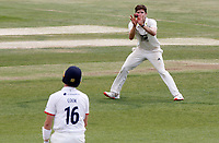Sam Cook of Essex watches the ball travel straight to Marcus O'Riordan during Essex CCC vs Kent CCC, Bob Willis Trophy Cricket at The Cloudfm County Ground on 3rd August 2020