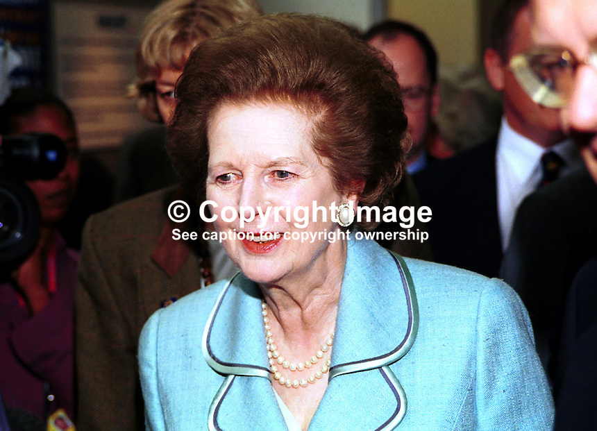 Baroness Thatcher, aka Margaret Thatcher, former Conservative Prime Minister, Britain, UK. Taken at Conservative Party Conference, Blackpool. Ref: 199910198..Copyright Image from Victor Patterson, 54 Dorchester Park, Belfast, UK, BT9 6RJ..Tel: +44 28 9066 1296.Mob: +44 7802 353836.Voicemail +44 20 8816 7153.Skype: victorpattersonbelfast.Email: victorpatterson@mac.com.Email: victorpatterson@ireland.com (back-up)..IMPORTANT: If you wish to use this image or any other of my images please go to www.victorpatterson.com and click on the Terms & Conditions. Then contact me by email or phone with the reference number(s) of the image(s) concerned.