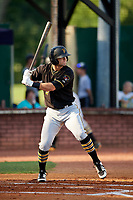 Bristol Pirates left fielder Brendt Citta (17) at bat during a game against the Elizabethton Twins on July 28, 2018 at Joe O'Brien Field in Elizabethton, Tennessee.  Elizabethton defeated Bristol 5-0.  (Mike Janes/Four Seam Images)