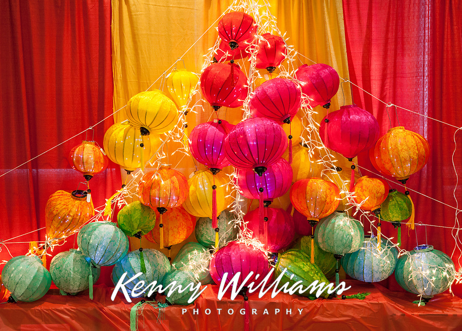 Colorful Chinese Lantern Display Background, Tet In Seattle,  Vietnamese New Year Festival 2019, Seattle Center, WA, USA.