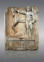 "Roman Sebasteion relief  sculpture of  Bellerophon Aphrodisias Museum, Aphrodisias, Turkey.<br /> <br /> Bellerophon was a Lykian hero and was claimed as a founder of Aphrodisias. He holds his winged horse Pegasos. The deign was modelled on another relief panel in the series ""Royal hero with Dod Hunting"". The carving is poor and the sculptor may have been a novice.modelled"