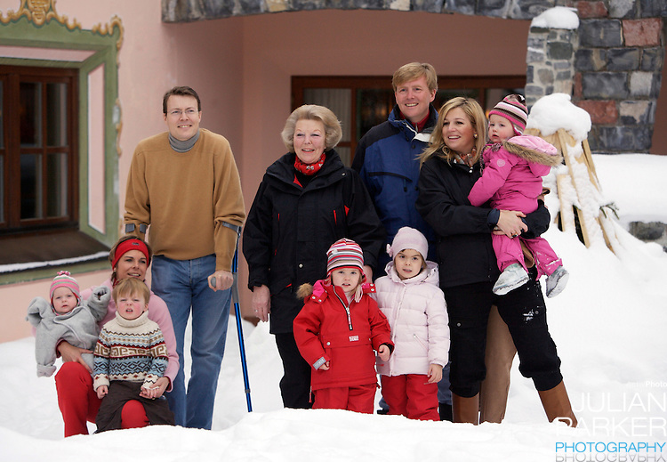 Queen Beatrix, Crown Prince Willem-Alexander & Crown Princess Maxima of Holland, Princess Catharina-Amalia, Princess Alexia, Prince Constantijn, Princess Laurentien and Eloise, Claus-Casimir & Leonore pose for photographs at the start of their annual skiing holiday in Lech, Austria..