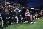 The Steelers bench watch the proceedings of the first 40mins against Northland. The game of Three Halves, a pre-season warm-up game between the Counties Manukau Steelers, Northland and the All Blacks, played at ECOLight Stadium, Pukekohe, on Friday August 12th 2016. Photo by Richard Spranger.