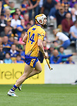 Aaron Cunningham of Clare celebrates the first of his two goals during their Senior quarter final against Tipperary at Pairc Ui Chaoimh. Photograph by John Kelly.