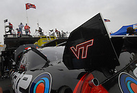 Apr 20, 2007; Avondale, AZ, USA; The car of Nascar Nextel Cup Series driver Ward Burton (4) during practice for the Subway Fresh Fit 500 at Phoenix International Raceway. Burton has Virginia Tech logos on his car in memory of those killed in the campus shootings this week. Mandatory Credit: Mark J. Rebilas
