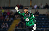 Goalkeeper Aaron Chapman of Accrington Stanley during the Sky Bet League 2 match between Wycombe Wanderers and Accrington Stanley at Adams Park, High Wycombe, England on 16 August 2016. Photo by Andy Rowland.