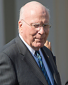 United States Senator Patrick Leahy (Democrat of Vermont), Ranking Member, US Senate Judiciary Committee, prior to US President Barack Obama introducing Judge Merrick Garland, chief justice for the US Court of Appeals for the District of Columbia Circuit, as his nominee to replace the late Associate Justice Antonin Scalia on the U.S. Supreme Court in the Rose Garden of the White House in Washington, D.C. on Wednesday, March 16, 2016. <br />