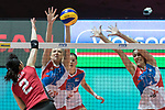 Setter Ana Antonijevic (L2) of Serbia and Middle blocker Stefana Veljkovic  (R) of Serbia blocks during the FIVB Volleyball World Grand Prix - Hong Kong 2017 match between Japan and Serbia on 22 July 2017, in Hong Kong, China. Photo by Yu Chun Christopher Wong / Power Sport Images