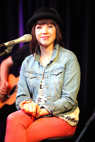 Justin Beiber's first signed artist, Carly Rae Jepsen visits WIOQ iHeart Performance Theater in Bala Cynwyd, Pa on April 12, 2012 © Star Shooter / MediaPunchInc