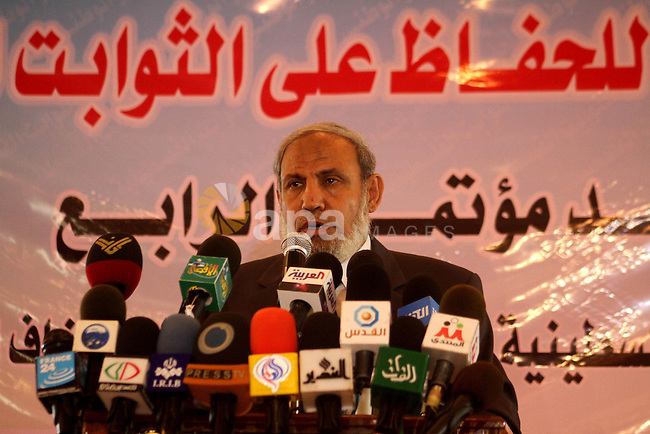 A Palestinian Hamas Leader , Mahmoud al-Zahar attends press conference against direct talks with Israel in Gaza City on Sept 1,2010 . Photo by Ashraf Amra