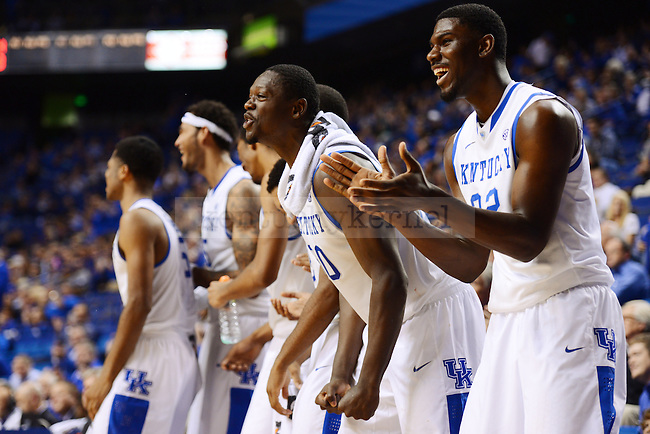 Kentucky Wildcats forward Alex Poythress (22) and Julius Randle cheer on E.J. Floreal after he dunks the ball during the second half of the UK men's basketball game vs. Robert Moriss in Rupp arena Lexington, Ky., on Sunday, November 17, 2013. UK beat Robert Morris 87 - 49. Photo by Eleanor Hasken | Staff