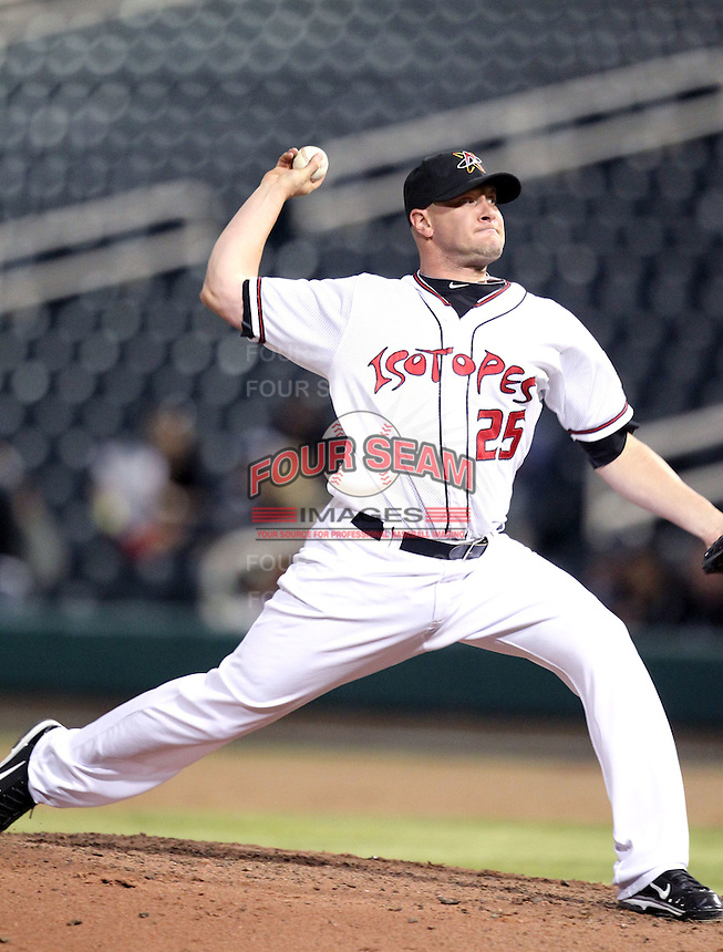 Jon Link #25 of the Albuquerque Isotopes plays in a Pacific Coast League game against the Omaha Storm Chasers at Isotopes Park on May 4, 2011  in Albuquerque, New Mexico. .Photo by:  Bill Mitchell/Four Seam Images.