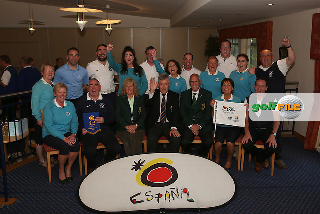 Strabane Golf Club team after winning the Ulster Mixed Foursomes Final, Shandon Park Golf Club, Belfast. 19/08/2016<br /> <br /> Picture Jenny Matthews / Golffile.ie<br /> <br /> All photo usage must carry mandatory copyright credit (&copy; Golffile | Jenny Matthews)