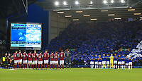 26th December 2019; Goodison Park, Liverpool, Merseyside, England; English Premier League Football, Everton versus Burnley; Everton fans in the Sir Philip Carter stands hold up a mosaic as the players of both teams take part in a minute of applause in memory of Evertonians who passed away during 2019 - Strictly Editorial Use Only. No use with unauthorized audio, video, data, fixture lists, club/league logos or 'live' services. Online in-match use limited to 120 images, no video emulation. No use in betting, games or single club/league/player publications
