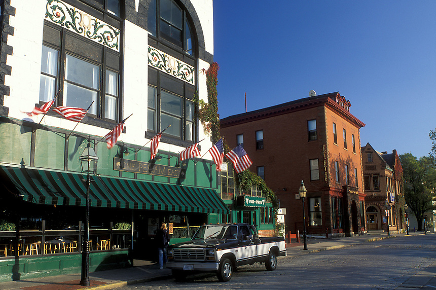 Newport, RI, Rhode Island, Shops along Thames Street in downtown Newport in the autumn.