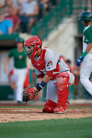 Peoria Chiefs catcher Ivan Herrera (4) fields a throw during a Midwest League game against the Fort Wayne TinCaps on July 17, 2019 at Parkview Field in Fort Wayne, Indiana.  Fort Wayne defeated Peoria 6-2.  (Mike Janes/Four Seam Images)