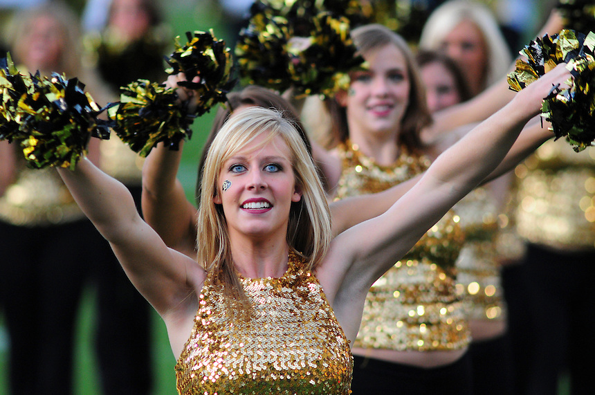 18 October 08: Colorado cheerleaders perform prior to a game against Kansas State. The Colorado Buffaloes defeated the Kansas State Wildcats 14-13 at Folsom Field in Boulder, Colorado.