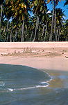 Golden sandy beach with abandoned sand castle, Puerto Rico, USA Caribbean