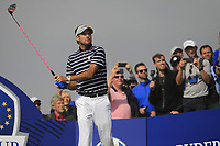 Bubba Watson (Team USA) on the 3rd tee during the Friday Foursomes at the Ryder Cup, Le Golf National, Ile-de-France, France. 28/09/2018.<br /> Picture Thos Caffrey / Golffile.ie<br /> <br /> All photo usage must carry mandatory copyright credit (© Golffile | Thos Caffrey)