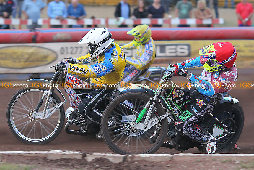Heat 3: Nilsson (yellow), Gustafsson (white) and Bridger - Lakeside Hammers vs Eastbourne Eagles - Sky Sports Elite League Speedway at Arena Essex Raceway, Purfleet - 09/08/13 - MANDATORY CREDIT: Gavin Ellis/TGSPHOTO - Self billing applies where appropriate - 0845 094 6026 - contact@tgsphoto.co.uk - NO UNPAID USE