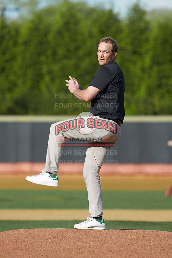Wake Forest associate professor Michael Sloan throws out a ceremonial first pitch prior to the ACC baseball game between the North Carolina State Wolfpack and the Wake Forest Demon Deacons at David F. Couch Ballpark on April 18, 2019 in  Winston-Salem, North Carolina. The Demon Deacons defeated the Wolfpack 7-3. (Brian Westerholt/Four Seam Images)