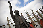 Sheffield United 2 Leeds United 0, 19/03/2011. Bramall Lane, Championship. A statue to former Sheffield United player and manager Derek Dooley outside the South Stand at the club's Bramall Lane ground prior to the Npower Championship fixture against Leeds United. The home team won the game by two goals to nil watched by a crowd of 23,728. Bramall Lane is the world's oldest professional football ground and at one time hosted both football and cricket. Photo by Colin McPherson.