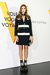 Italian model Chiara Ferragni poses for the cameras during the opening celebration for Louis Vuitton's ''Volez, Voguez, Voyagez'' exhibition on April 21, 2016, Tokyo, Japan. After a successful run in Paris, the luxury fashion brand now brings the instalment to Tokyo, which traces Louis Vuitton's history from 1854 to today. Some 1,000 objects, including rare trunks, photographs and handwritten client cards will be displayed. Japanese room will be set up specially for Japan, showcasing such rare items as makeup and tea ceremony trunks for kabuki actor Ebizo XI. The exhibition will be open to the public free of charge from April 23 to June 19. (Photo by Rodrigo Reyes Marin/AFLO)