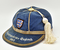 BNPS.co.uk (01202 558833)<br /> Pic: MullocksAuctions/BNPS<br /> <br /> The cap that Bobby Moore won the first time he ever captained England is being sold for £10,000 by the iconic defender's family.<br /> <br /> Moore skippered the Three Lions a record 90 times between 1963 and 1973, after first leading the side in a 4-2 win against Czechoslovakia.<br /> <br /> Aged just 22, he remains the youngest man ever to captain England with the game also the first victory under the management of Sir Alf Ramsey.<br /> <br /> The match was just the 12th occasion the young defender had ever played for his country and he only took the armband as regular captain Jimmy Armfield was injured.