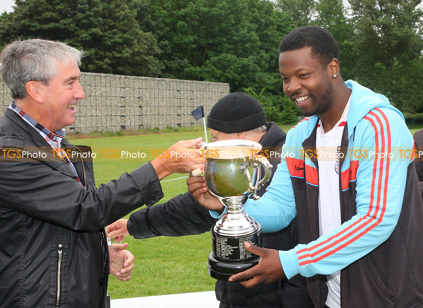 Mile End recieve the Jack Walpole Cup - Mustard (orange) vs Mile End (white) - Hackney & Leyton Sunday League Jack Walpole Cup Final Football at South Marsh, Hackney Marshes, London - on 31/05/15 - MANDATORY CREDIT: Dave Simpson/TGSPHOTO - Self billing applies where appropriate - 0845 094 6026 - contact@tgsphoto.co.uk - NO UNPAID USE