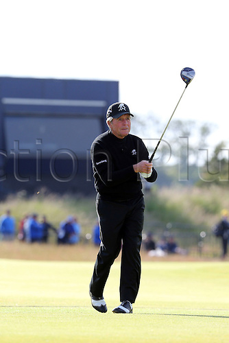 15.07.2015. The Old Course, St Andrews, Fife, Scotland.  Gary Player of South Africa watches his shot during a practice round of the 144th British Open Championship at the Old Course, St Andrews in Fife, Scotland.